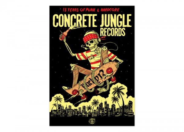 CONCRETE JUNGLE RECORDS - 13 Years Anniversary Ltd. Silkscreen Poster