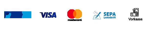 PayPal, Visa, mastercard, Lastschrift, SOFORT Überweisung, Giropay, EPS, Vorkasse, Nachnahme