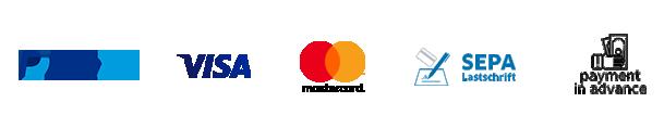 PayPal, Visa, mastercard, Direct Debit, SOFORT Überweisung, Giropay, EPS, Prepayment, Cash on Delivery
